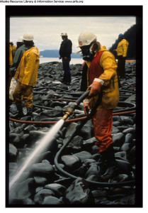 cleaning oil leak on shore